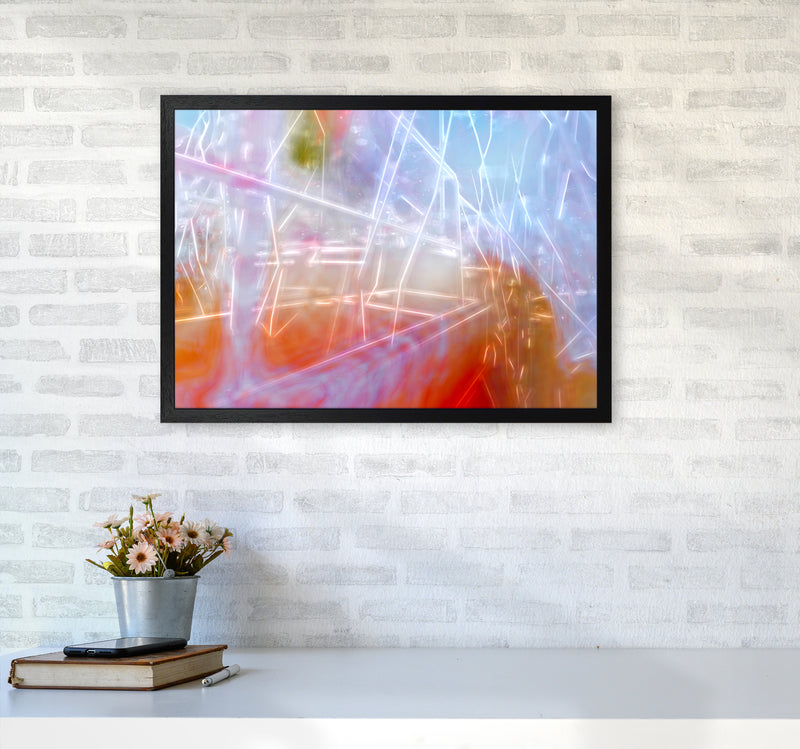 Neon Abstract Art Print by Henry Hu A2 White Frame