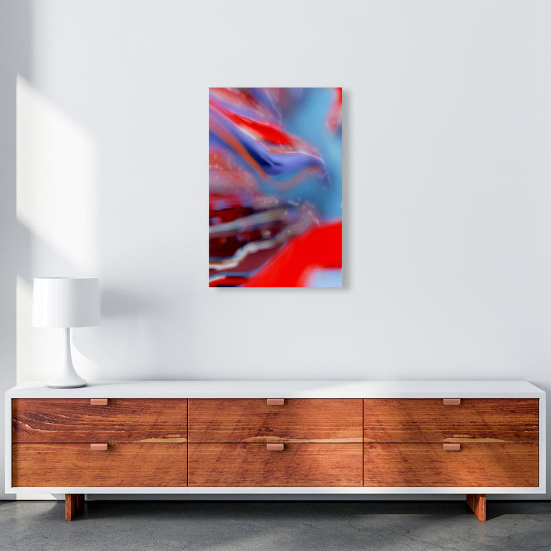 Red Stripe 2 Abstract Art Print by Henry Hu A2 Canvas
