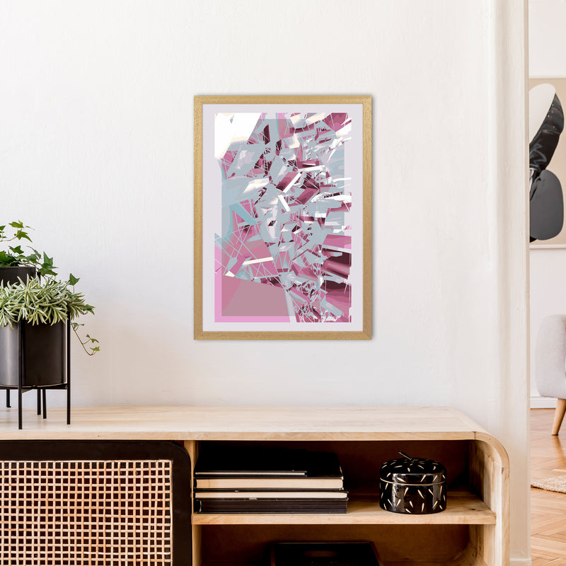 Pink & Grey Squares Abstract Art Print by Henry Hu A2 Print Only