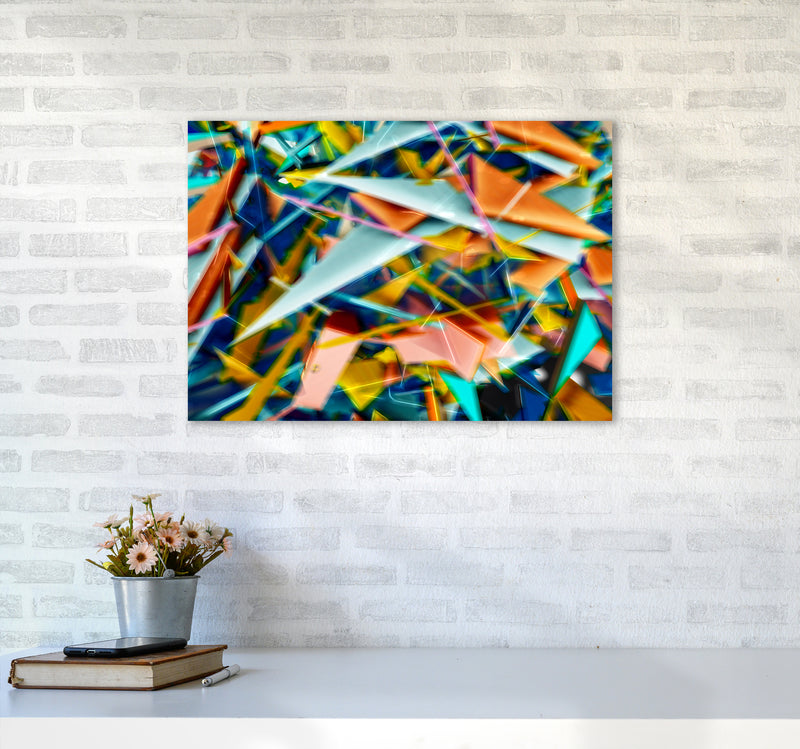 Blurred Triangles 2 Abstract Art Print by Henry Hu A2 Black Frame