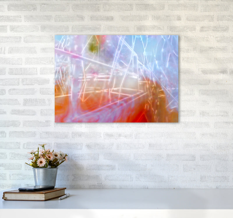 Neon Abstract Art Print by Henry Hu A2 Black Frame