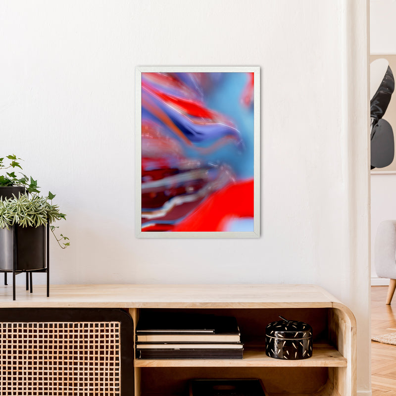 Red Stripe 2 Abstract Art Print by Henry Hu A2 Oak Frame