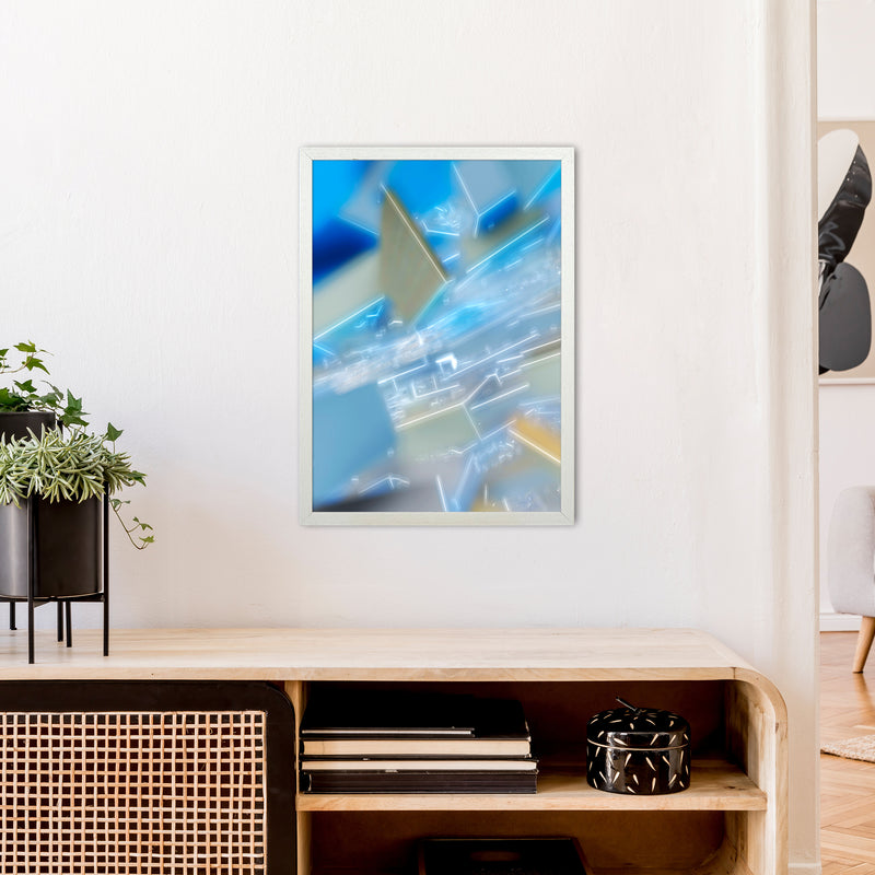 Electric Blue 6 Abstract Art Print by Henry Hu A2 Oak Frame