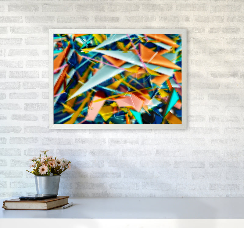 Blurred Triangles 2 Abstract Art Print by Henry Hu A2 Oak Frame
