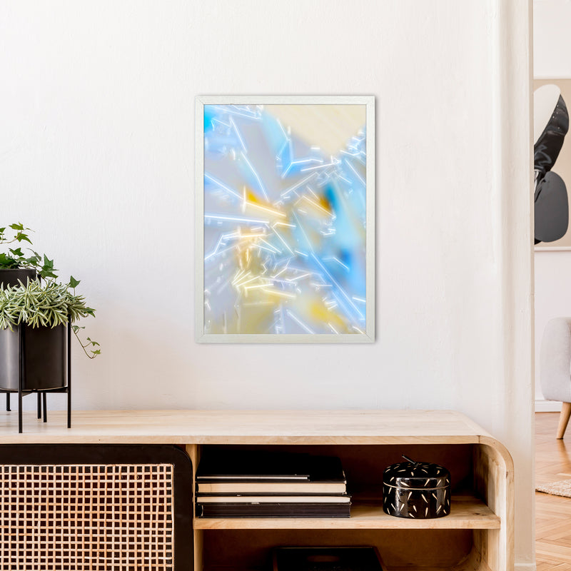 Electric Blue 2 Abstract Art Print by Henry Hu A2 Oak Frame