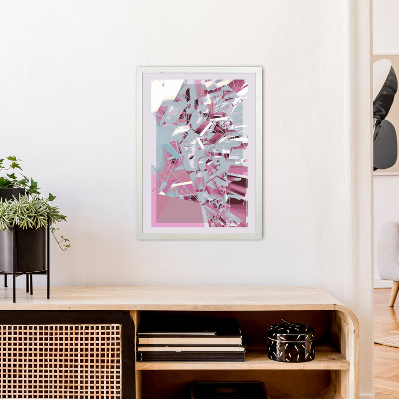 Pink & Grey Squares Abstract Art Print by Henry Hu A2 Oak Frame