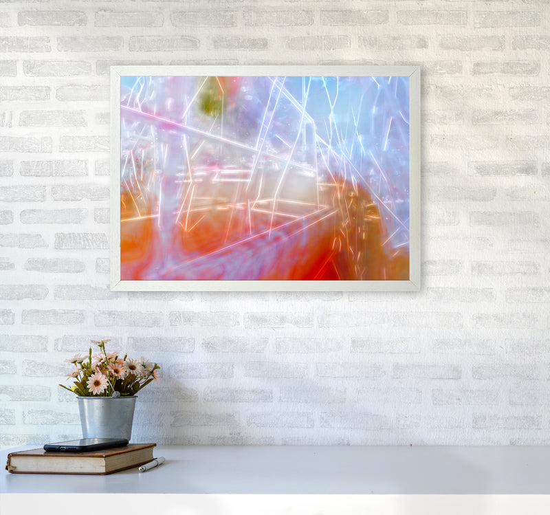 Neon Abstract Art Print by Henry Hu A2 Oak Frame