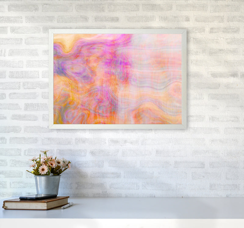 Creation 2 Abstract Art Print by Henry Hu A2 Oak Frame