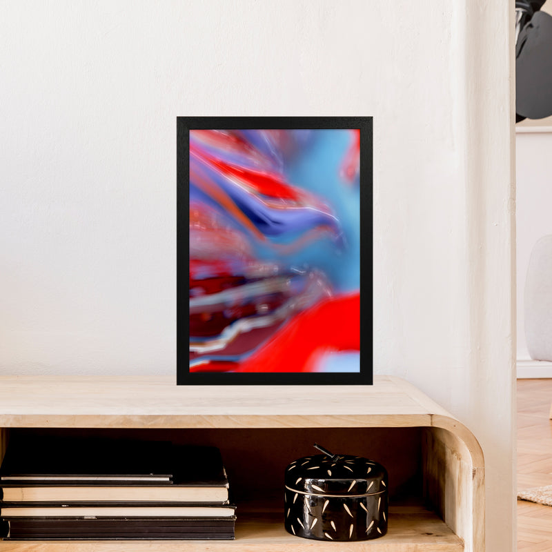 Red Stripe 2 Abstract Art Print by Henry Hu A3 White Frame