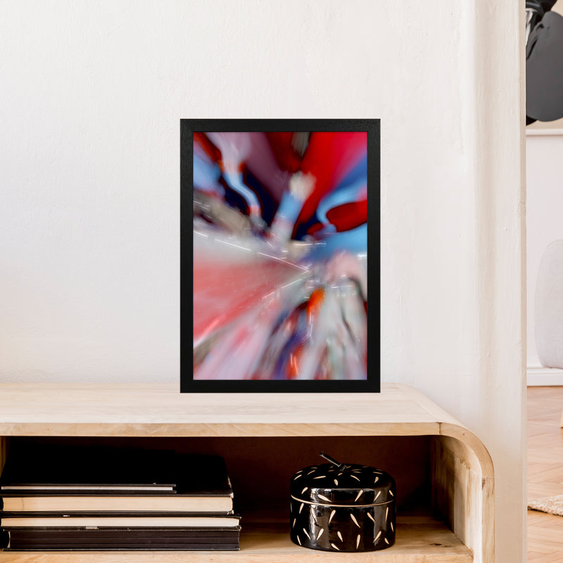 Red Stripe 3 Abstract Art Print by Henry Hu A3 White Frame
