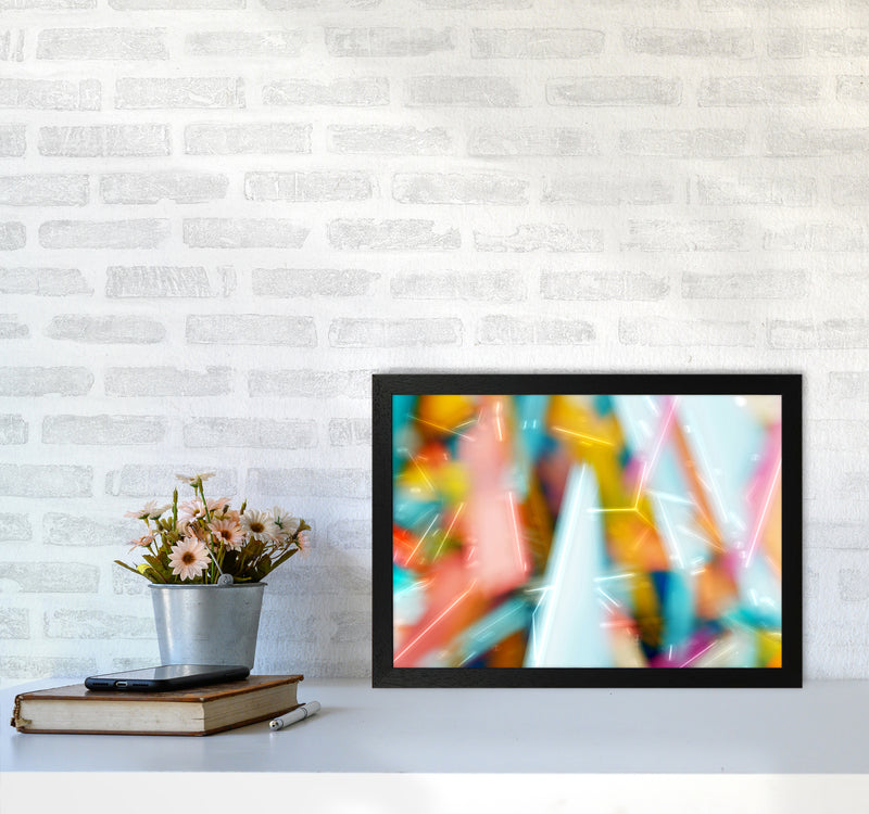 Rush 1 Abstract Art Print by Henry Hu A3 White Frame