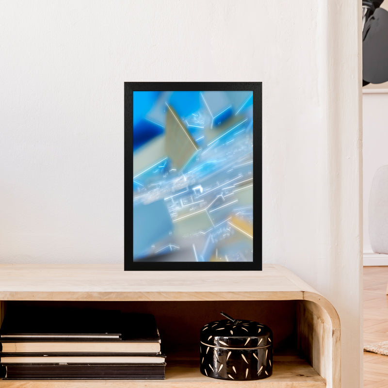 Electric Blue 6 Abstract Art Print by Henry Hu A3 White Frame