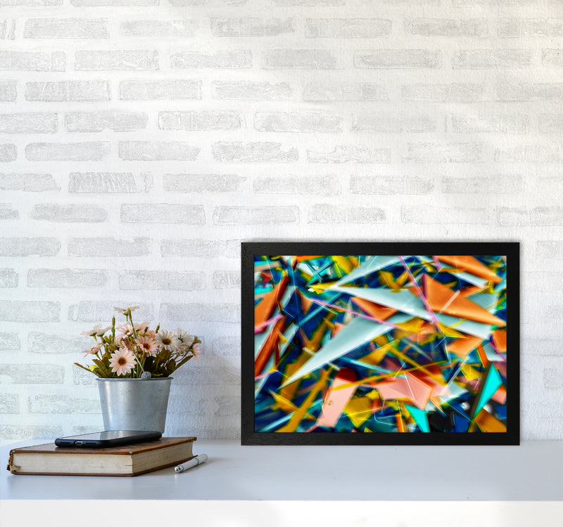 Blurred Triangles 2 Abstract Art Print by Henry Hu A3 White Frame