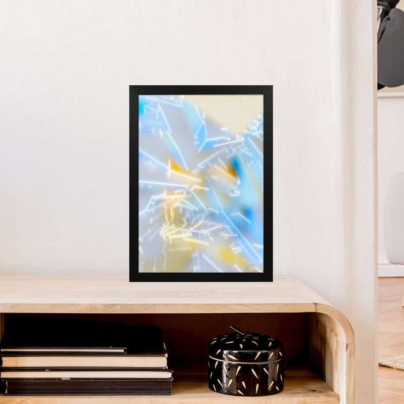 Electric Blue 2 Abstract Art Print by Henry Hu A3 White Frame