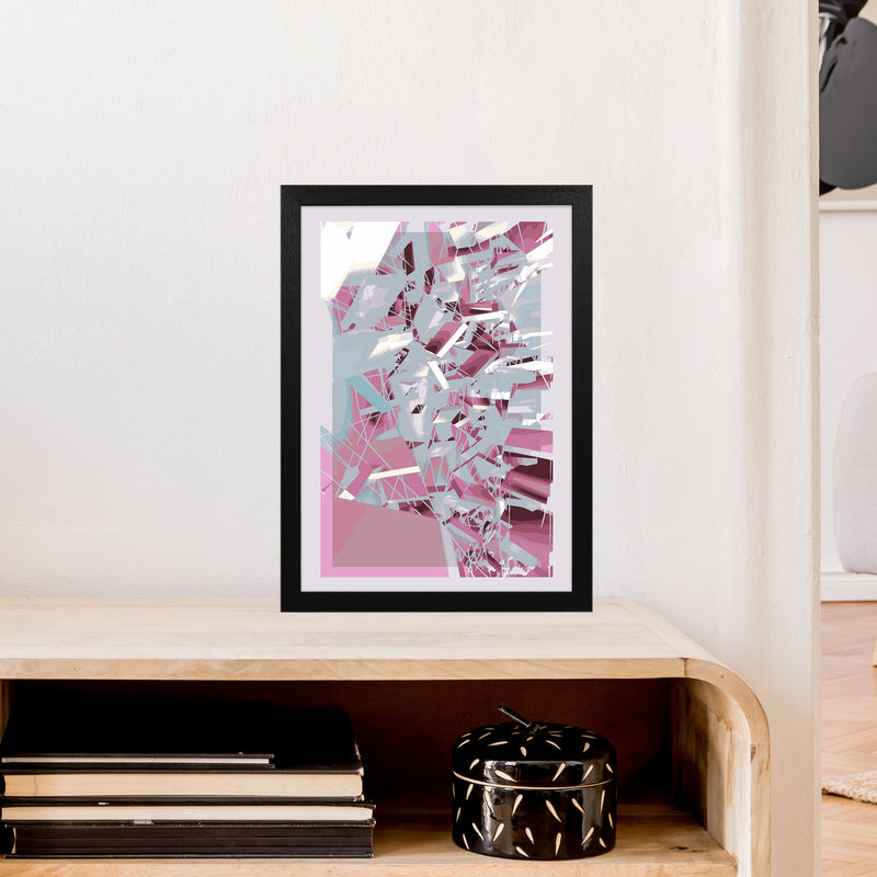 Pink & Grey Squares Abstract Art Print by Henry Hu A3 White Frame