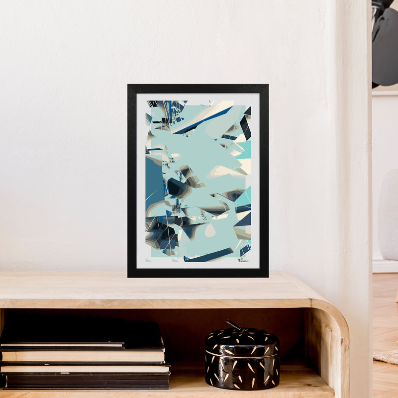 Blue Fade Abstract Art Print by Henry Hu A3 White Frame