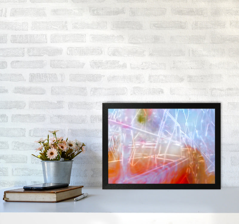 Neon Abstract Art Print by Henry Hu A3 White Frame