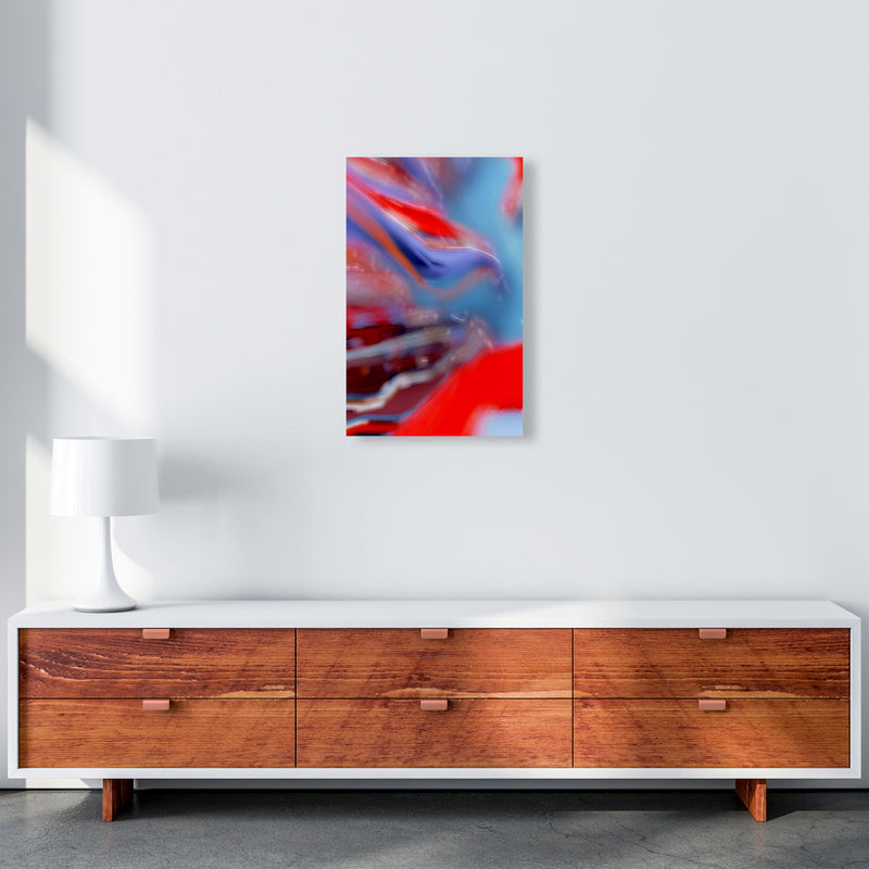 Red Stripe 2 Abstract Art Print by Henry Hu A3 Canvas