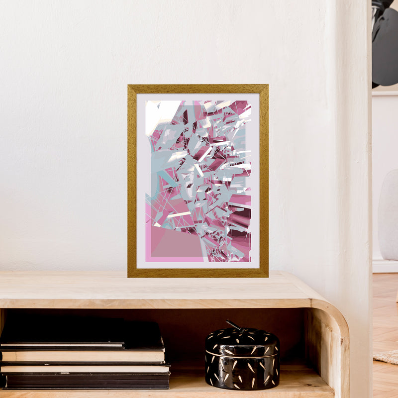 Pink & Grey Squares Abstract Art Print by Henry Hu A3 Print Only