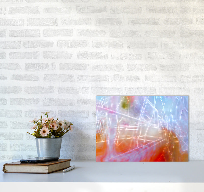 Neon Abstract Art Print by Henry Hu A3 Black Frame