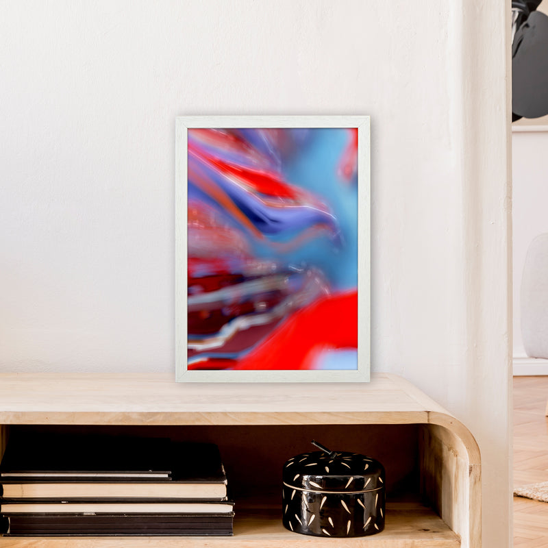 Red Stripe 2 Abstract Art Print by Henry Hu A3 Oak Frame