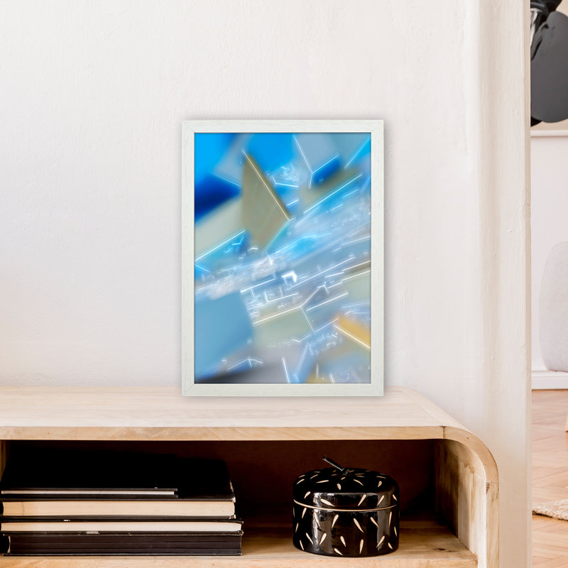 Electric Blue 6 Abstract Art Print by Henry Hu A3 Oak Frame