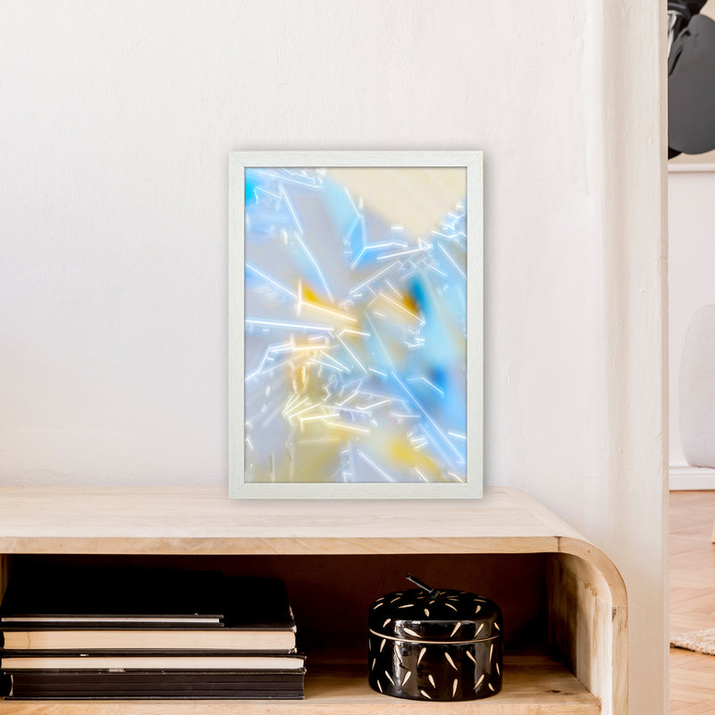 Electric Blue 2 Abstract Art Print by Henry Hu A3 Oak Frame