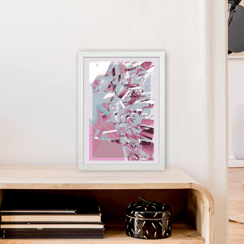 Pink & Grey Squares Abstract Art Print by Henry Hu A3 Oak Frame
