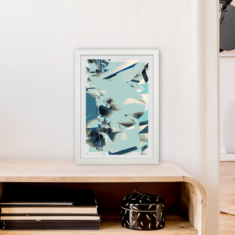 Blue Fade Abstract Art Print by Henry Hu A3 Oak Frame