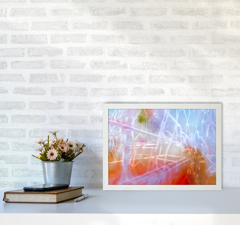 Neon Abstract Art Print by Henry Hu A3 Oak Frame