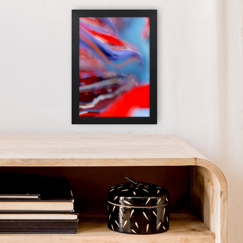 Red Stripe 2 Abstract Art Print by Henry Hu A4 White Frame