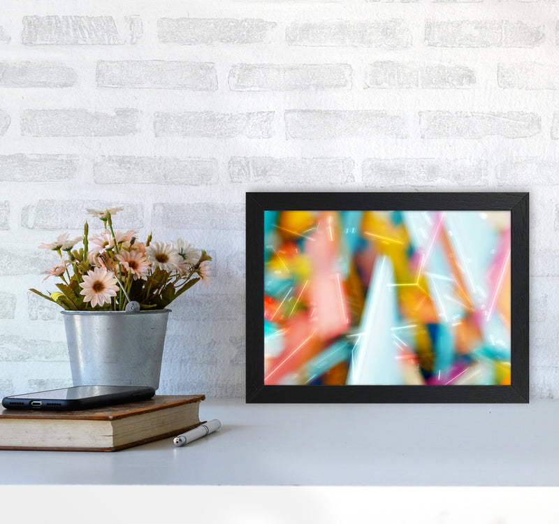 Rush 1 Abstract Art Print by Henry Hu A4 White Frame