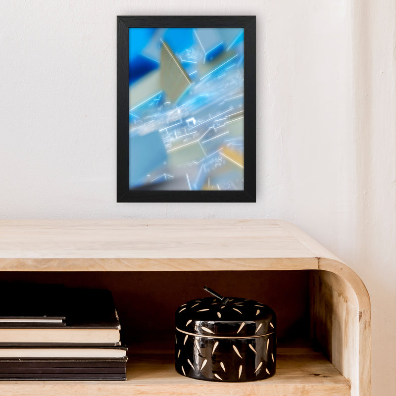 Electric Blue 6 Abstract Art Print by Henry Hu A4 White Frame