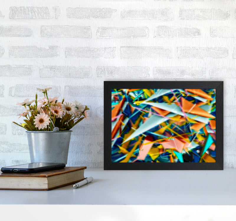 Blurred Triangles 2 Abstract Art Print by Henry Hu A4 White Frame