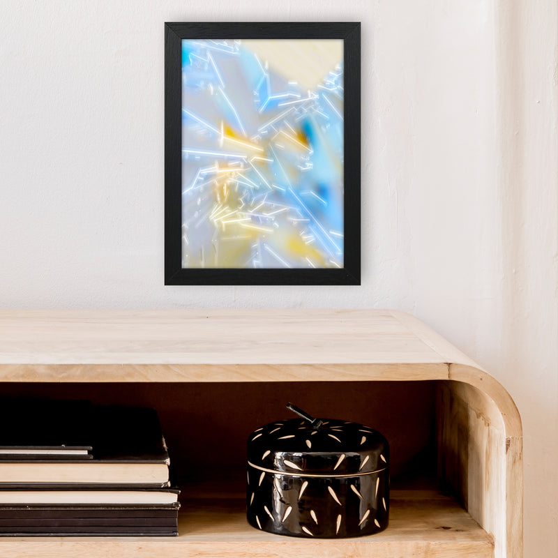 Electric Blue 2 Abstract Art Print by Henry Hu A4 White Frame