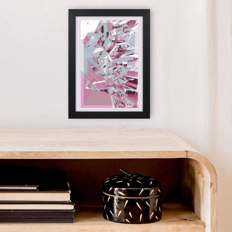 Pink & Grey Squares Abstract Art Print by Henry Hu A4 White Frame