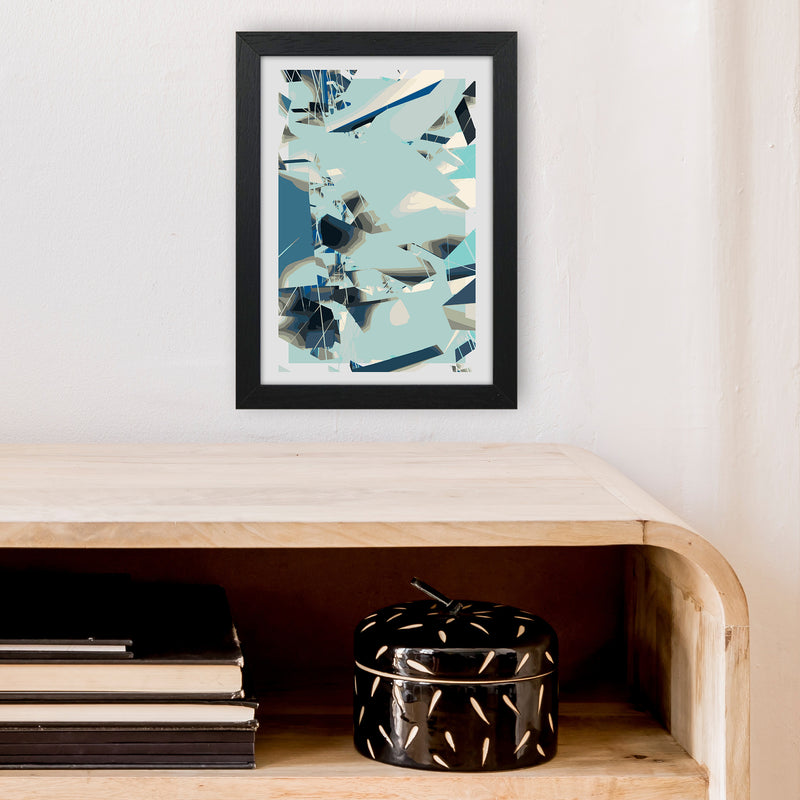Blue Fade Abstract Art Print by Henry Hu A4 White Frame