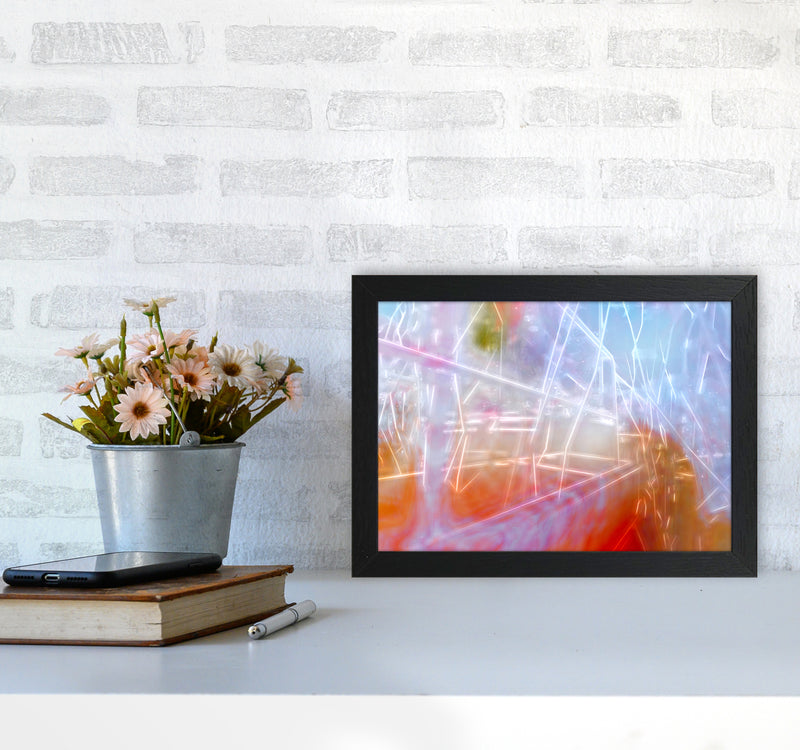 Neon Abstract Art Print by Henry Hu A4 White Frame