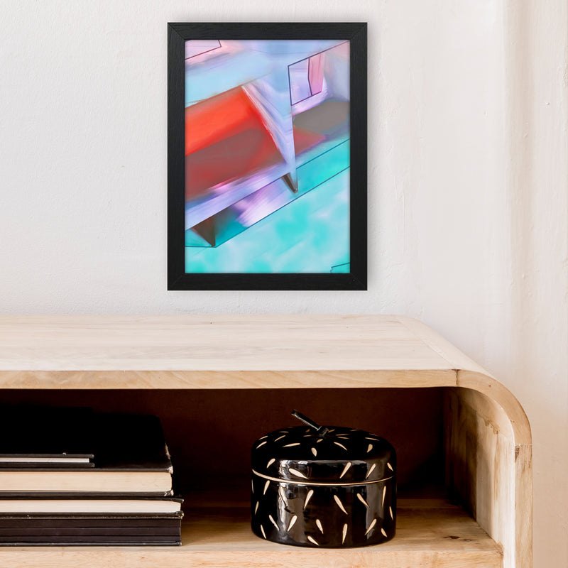 Hillside Abstract Art Print by Henry Hu A4 White Frame
