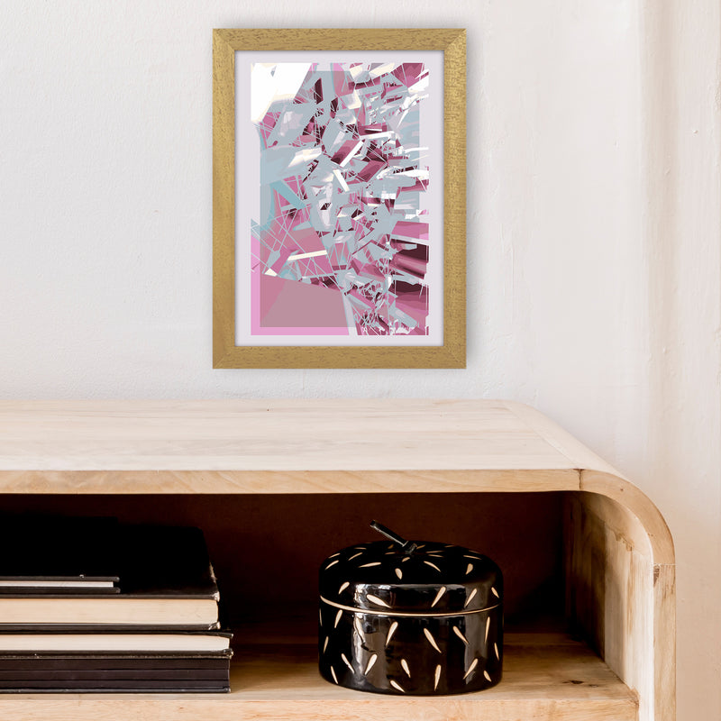 Pink & Grey Squares Abstract Art Print by Henry Hu A4 Print Only