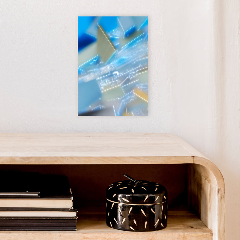 Electric Blue 6 Abstract Art Print by Henry Hu A4 Black Frame