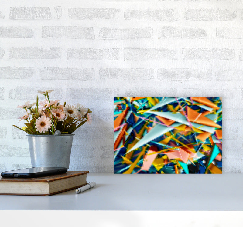 Blurred Triangles 2 Abstract Art Print by Henry Hu A4 Black Frame