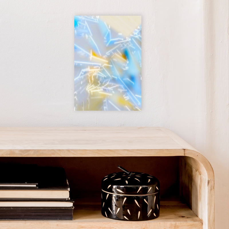 Electric Blue 2 Abstract Art Print by Henry Hu A4 Black Frame