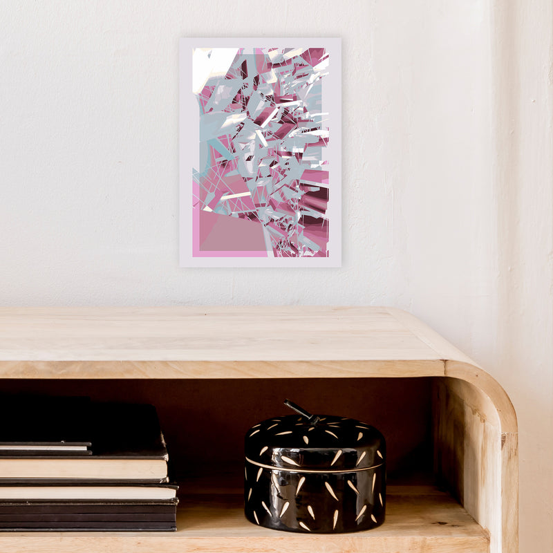 Pink & Grey Squares Abstract Art Print by Henry Hu A4 Black Frame