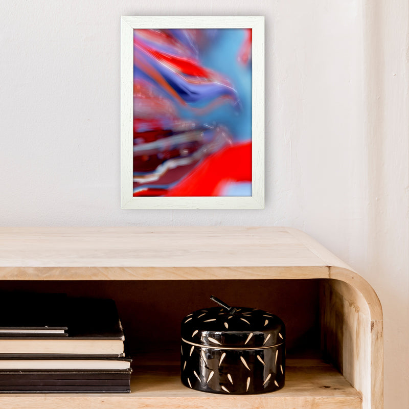 Red Stripe 2 Abstract Art Print by Henry Hu A4 Oak Frame