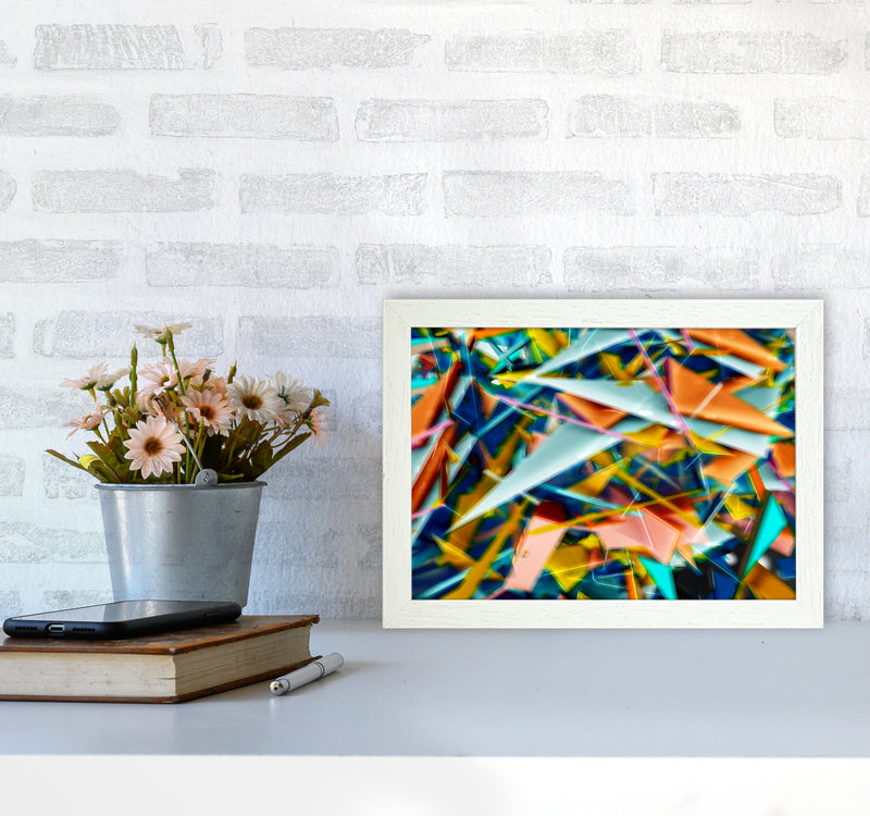 Blurred Triangles 2 Abstract Art Print by Henry Hu A4 Oak Frame