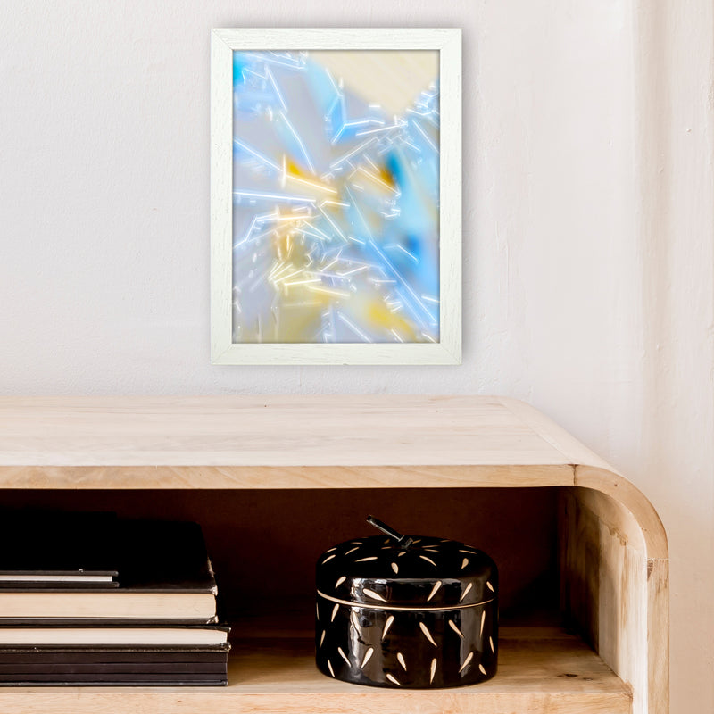 Electric Blue 2 Abstract Art Print by Henry Hu A4 Oak Frame