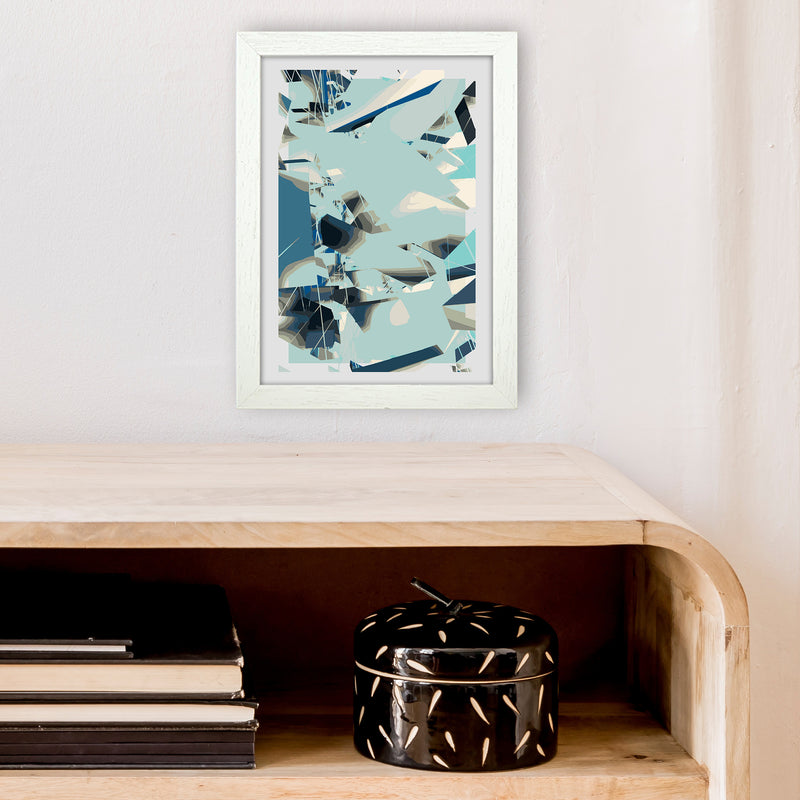 Blue Fade Abstract Art Print by Henry Hu A4 Oak Frame