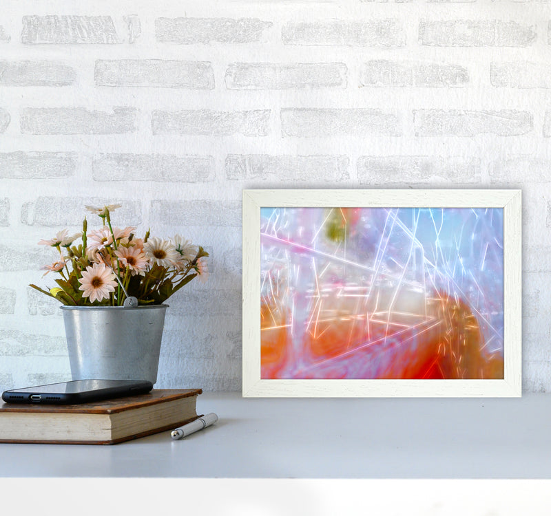Neon Abstract Art Print by Henry Hu A4 Oak Frame