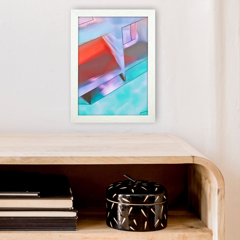 Hillside Abstract Art Print by Henry Hu A4 Oak Frame